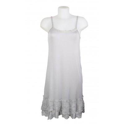 Fond de robe en viscose avec bas en dentelle, couleur Gris