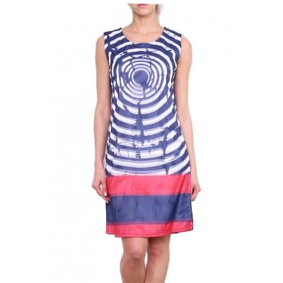 Robe imprimée, rondelle, bleu, taille 38-46