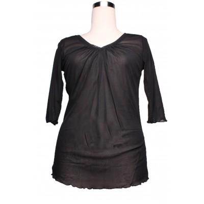 T-shirt basic en résille,noir, col rond, manches 3/4