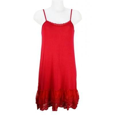 Fond de robe en viscose avec bas en dentelle, couleur Rouge