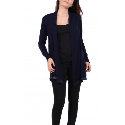 Gilet laine,couleur unie,bleu marine