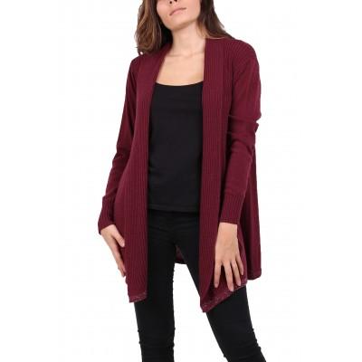 Gilet laine,couleur unie,bordeaux