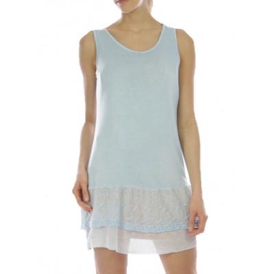 Fond de robe,tunique,couleur bleupastel