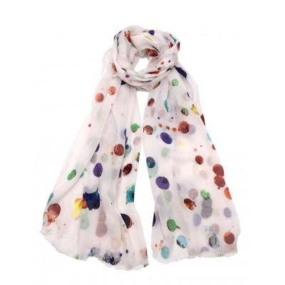 Foulard imprimée à petites bulles,Blanc