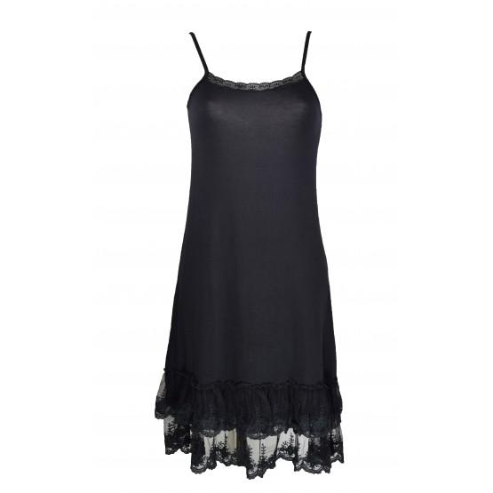Fond de robe noir,bas en dentelle