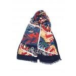 écharpe imprimée,bleu marine