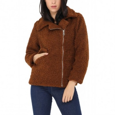 Manteau court moumoute marron