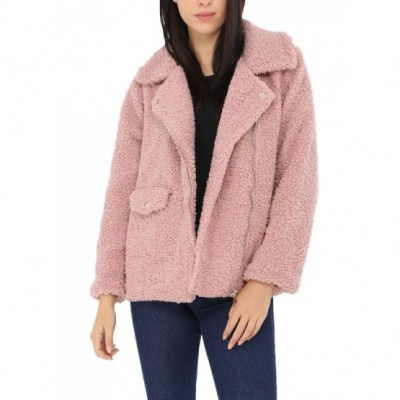 Manteau court moumoute rose
