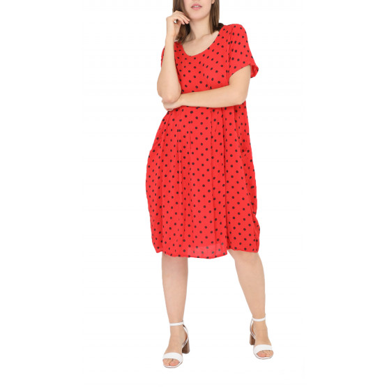 Robe D Ete Petit Pois Taille 42 44 46 48 Miss Rouge