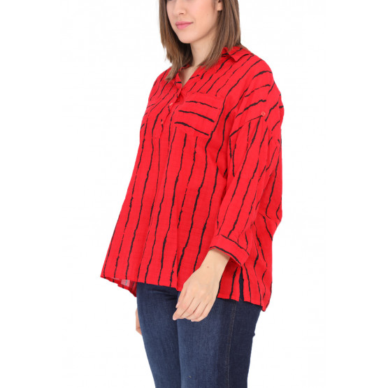Chemise à rayure,grande taille,rouge