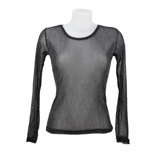 T-shirt, top en voile, brillant / pailleté