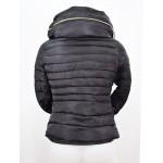 Manteau, Doudoune femme courte, Col gonflé, couleur Noir