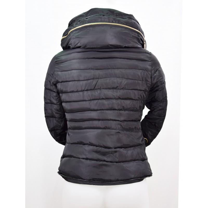 manteau doudoune femme courte col gonfl couleur noir miss rouge. Black Bedroom Furniture Sets. Home Design Ideas