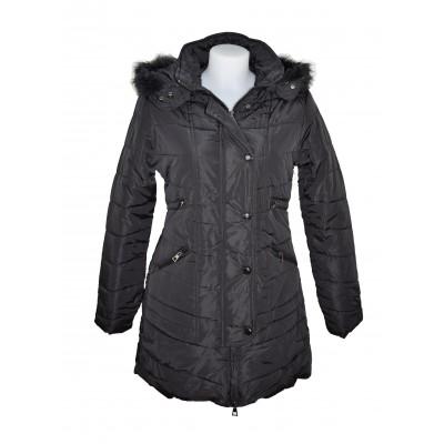 Doudoune / Manteau noir col fourré