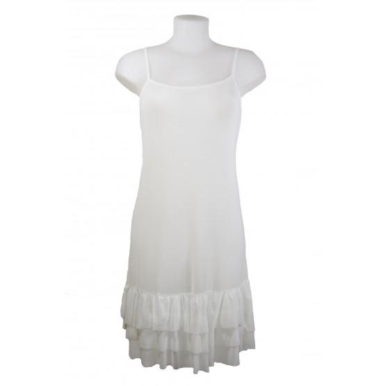 Fond de robe en voile mousseline, couleur Blanc
